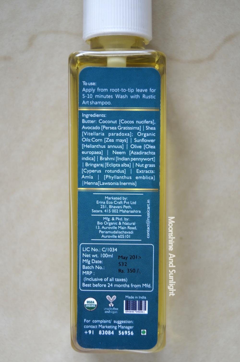 Rustic Art Vitality Pre shampoo Deep Conditioner   Review