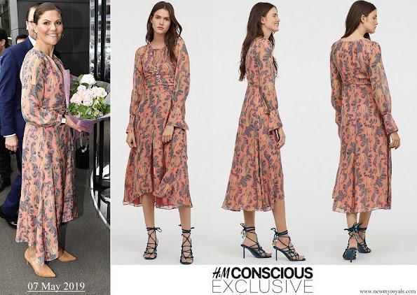 Crown Princess Victoria wore H&M print silk dress H&M Conscious Exclusive