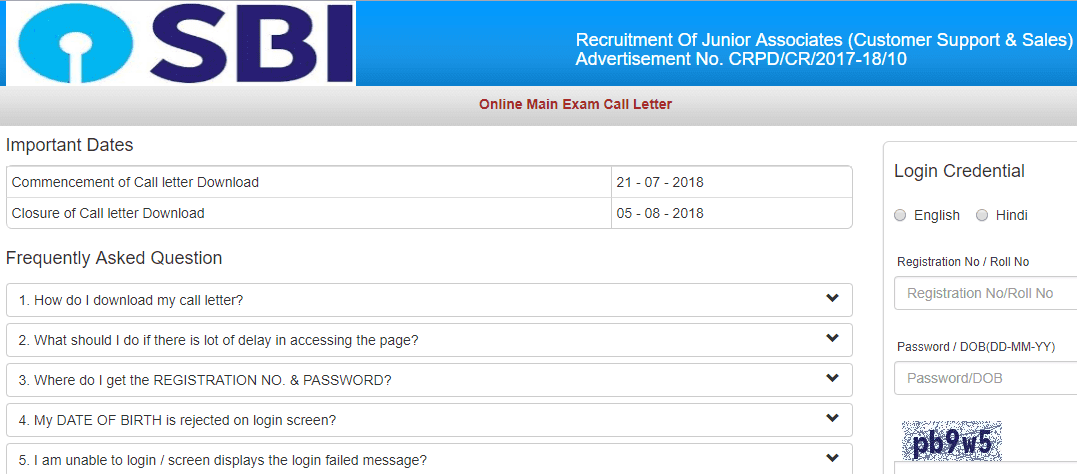 SBI Clerk 2018 Admit Card Download