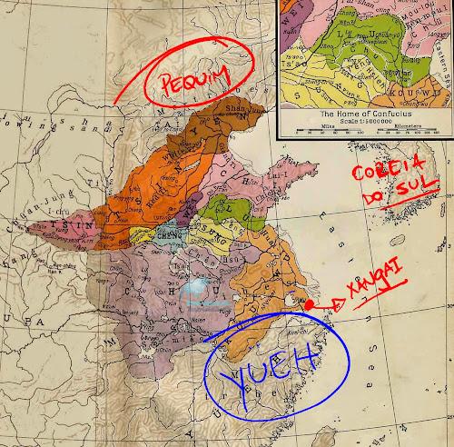 Mapa indicando a província de Yueh, no Período das Primaveras e Outonos da China Antiga