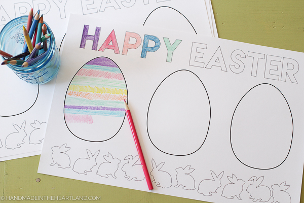 Download for free this Easter Egg Color Page Placemat