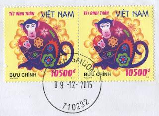 stamp, vietnam, 10500, year of the monkey, zodiac