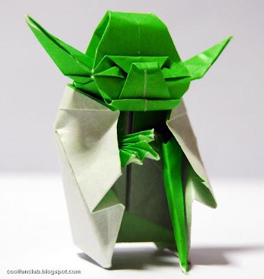 Maestro Yoda de Star wars hecho con papel - origami o papiroflexia