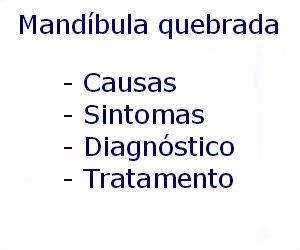 Mandíbula quebrada causas sintomas diagnóstico tratamento prevenção riscos complicações