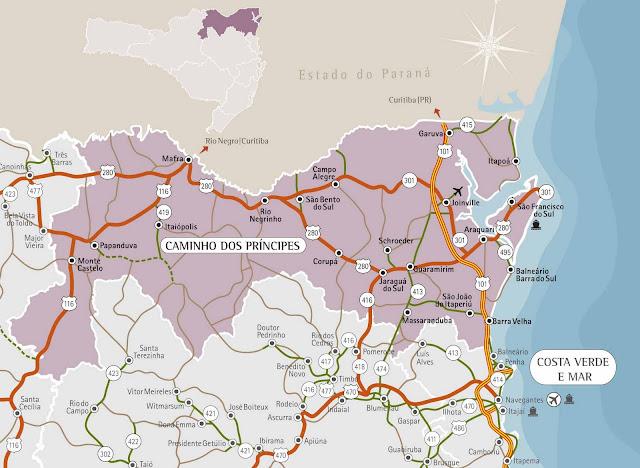Mapa do litoral norte de Santa Catarina