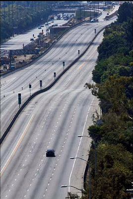 A rare sight on the Los Angeles 405 as the freeway closes for Carmageddon