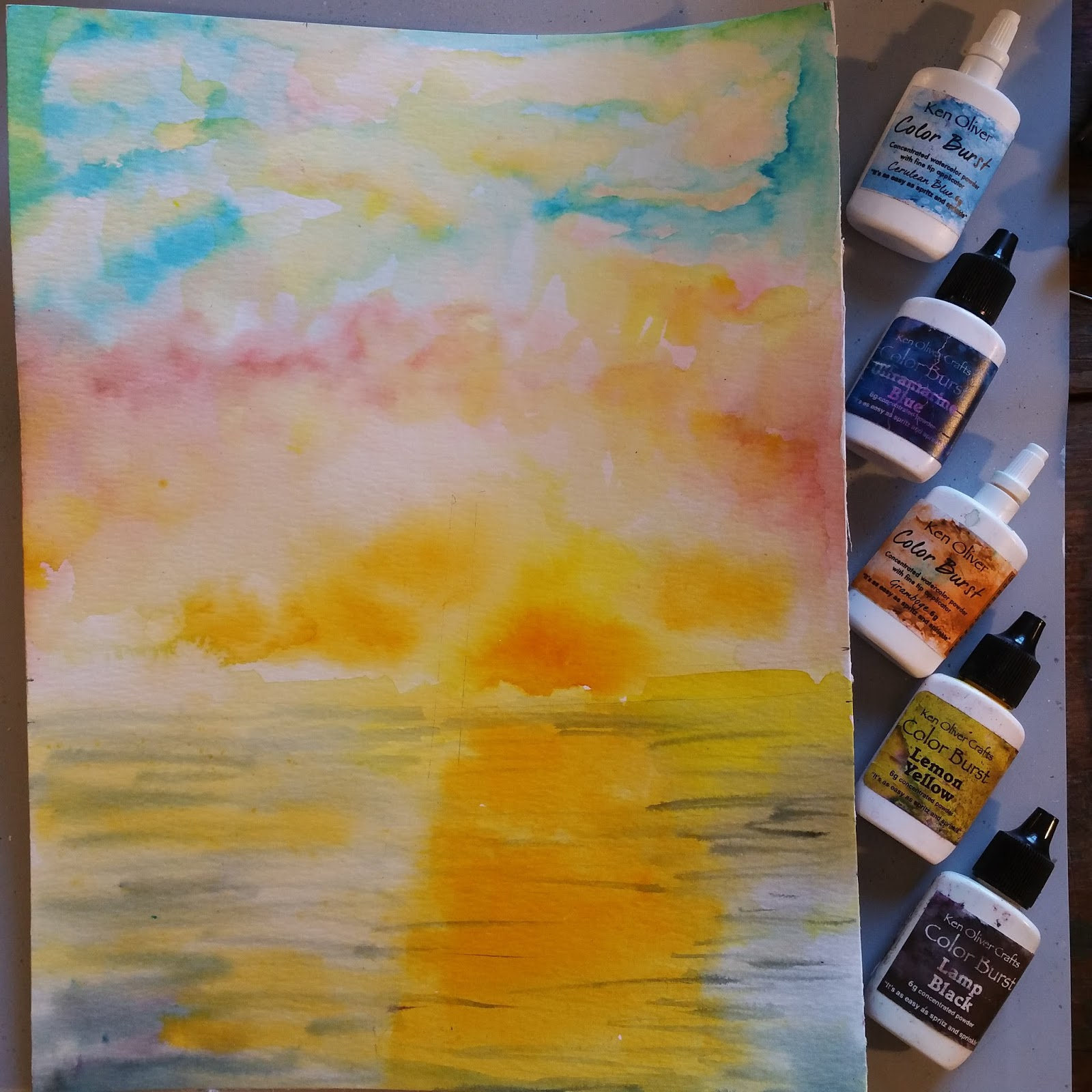 Reverse Glass Painting Sunset