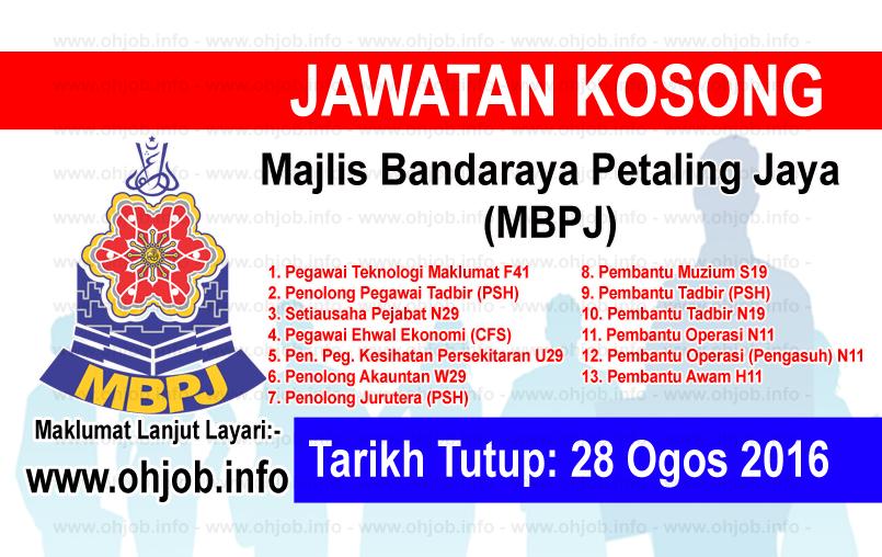Jawatan Kerja Kosong Majlis Bandaraya Petaling Jaya (MBPJ) logo www.ohjob.info ogos 2016