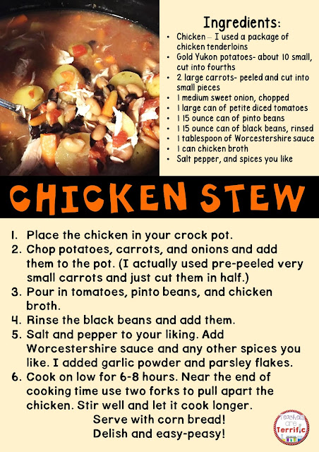 Chicken Stew recipe fort he crockpot! Easy ingredients! Just throw them all in the crockpot before you head out to school and dinner is ready when you get home! Add some cornbread muffins and enjoy!
