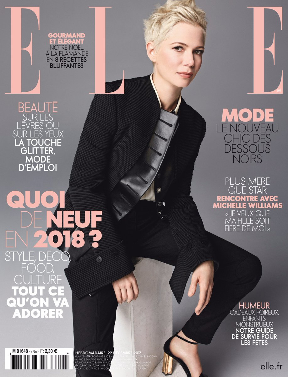 michelle williams on the january 2018 cover of elle france
