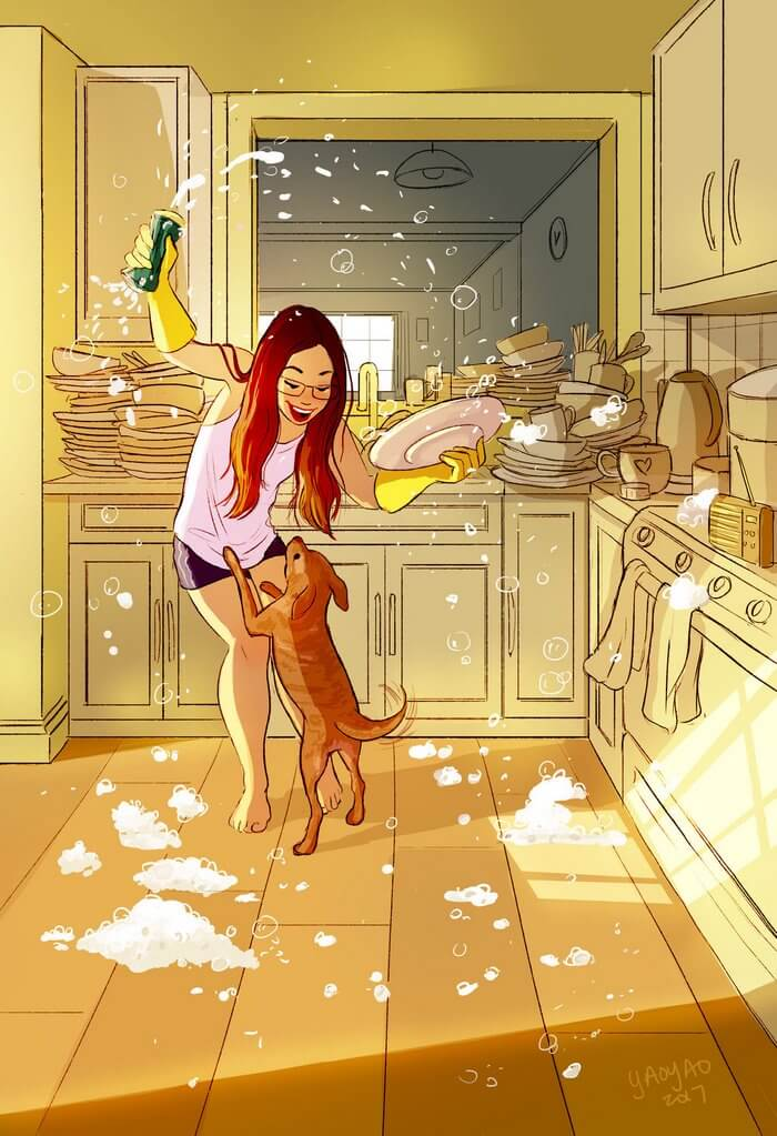 20 Beautiful Illustrations That Show What's Like To Live Alone - Dancing Like No One Is Watching (Cause No One Is)