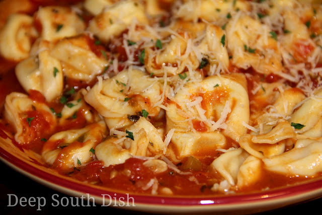 A versatile and super easy pasta sauce made from garden fresh tomatoes, pictured here with a three cheese tortellini and garnished with freshly grated Parmesan cheese and fresh parsley.