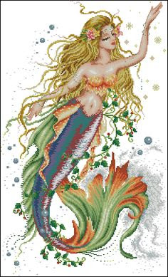 cross stitch feminine mermaid