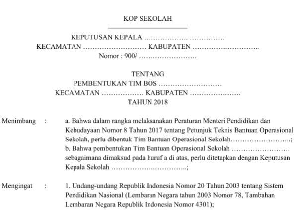 Download SK Tim Manajemen BOS Sekolah 2018