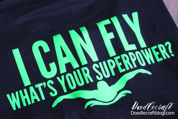 I can fly, what's your superpower?  Funny swimmer shirt with silhouette of man doing the butterfly stroke.