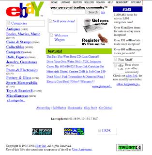 Die eBay-Startseite 1998