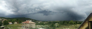 Panoramic from the balcony showing the storms