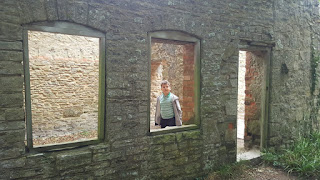Dan Jon in an abandonded structure at Tyneham