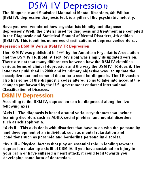 Kill Depression: Dsm IV Depression