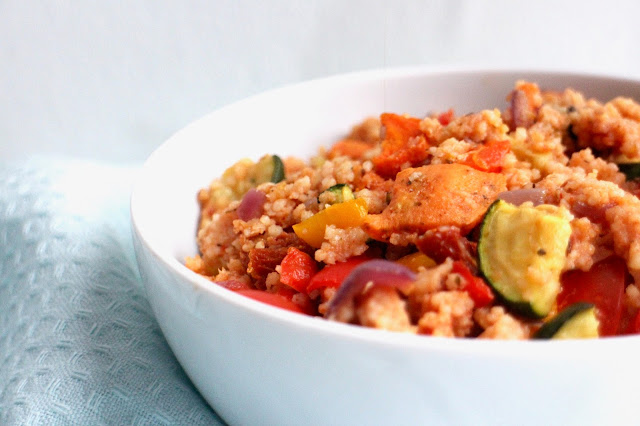 Roasted vegetable couscous lunch recipe