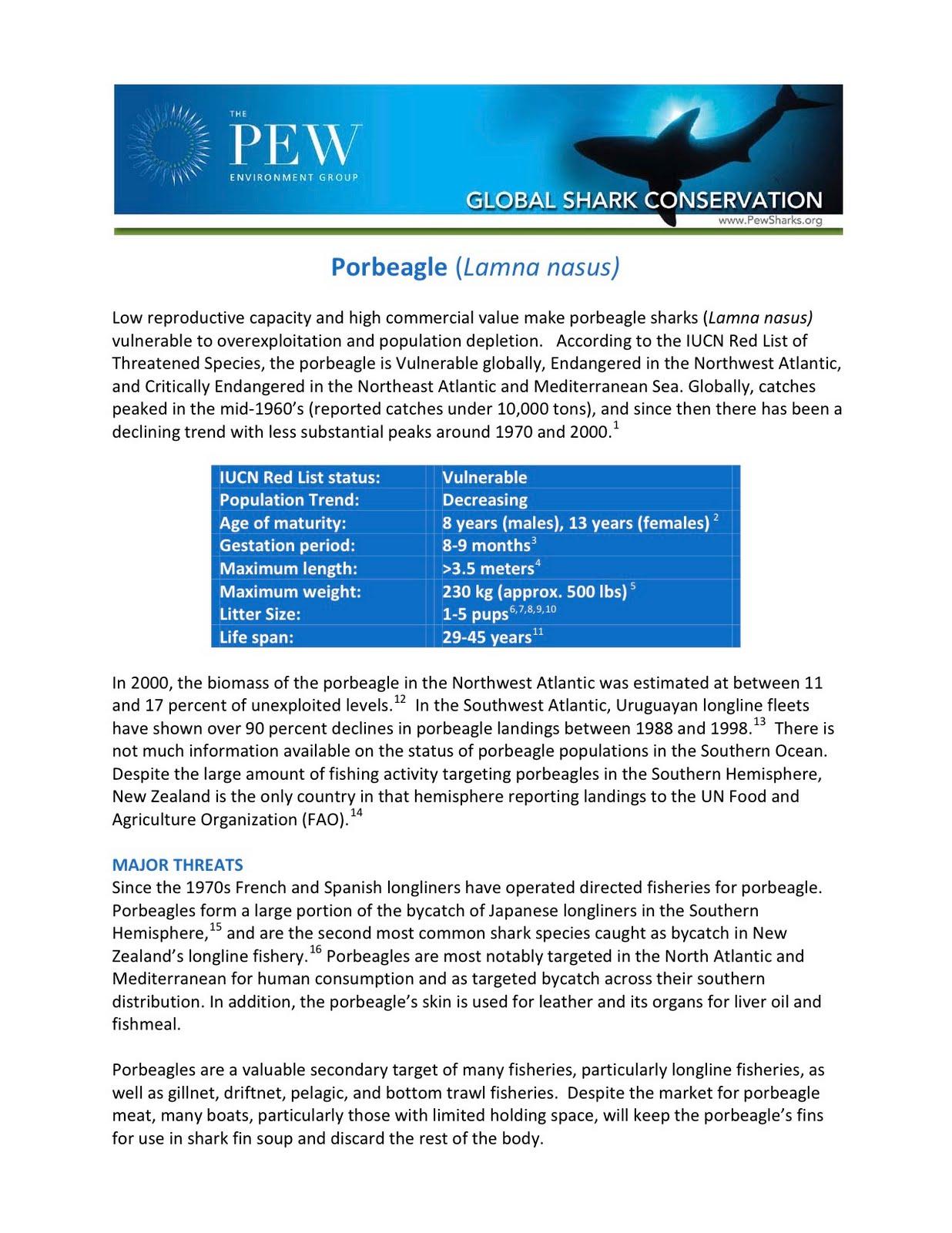 Shark Defenders Vulnerable Shark Fact Sheets