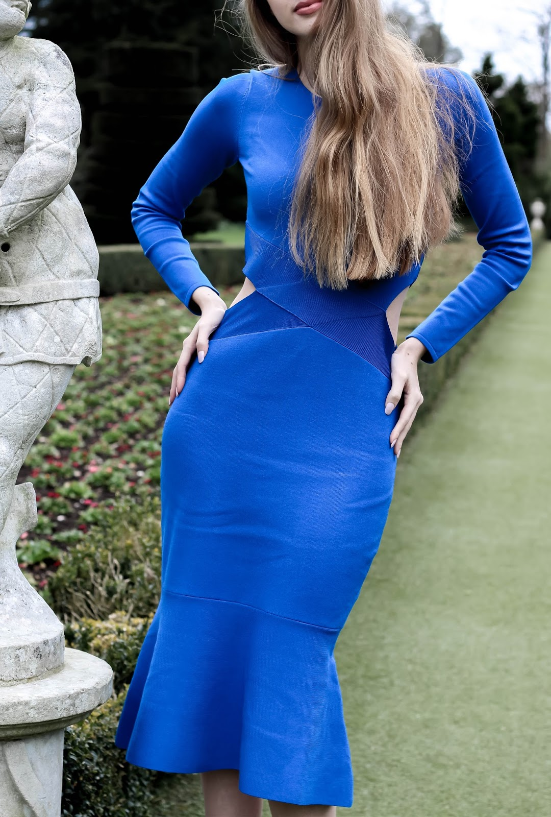 Karen Millen Blue Bodycon Pencil Cut Out Dress