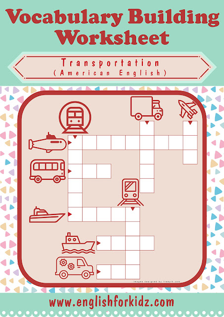 Free printable ESL crossword puzzle for the transportation topic