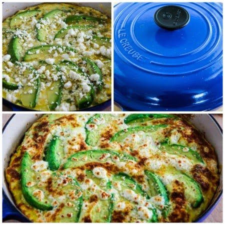 Avocado Frittata with Cotija and Mozzarella Cheese found on KalynsKitchen.com