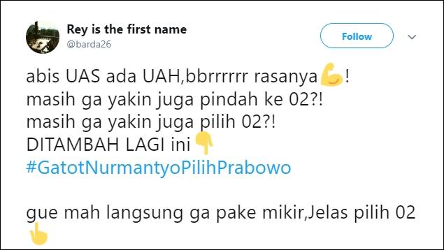 Setelah 'UASPilihPrabowo', Tagar #GatotNurmantyoPilihPrabowo Trending Topic
