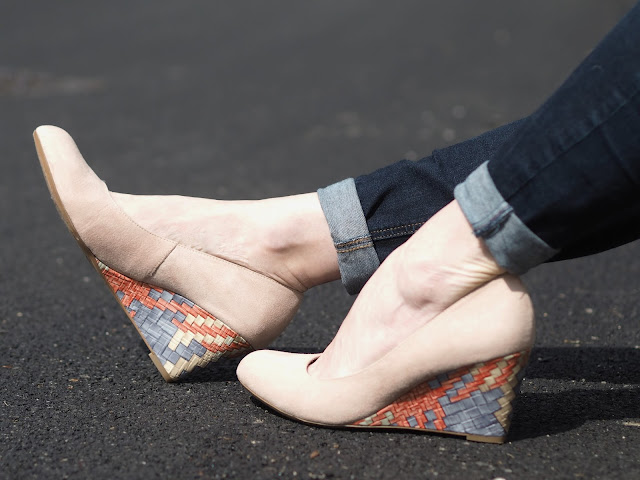Nude suede wedges with multi-coloured heel