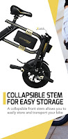 Folding design, collapsible stem for easy storage on SwagCycle E-Bike