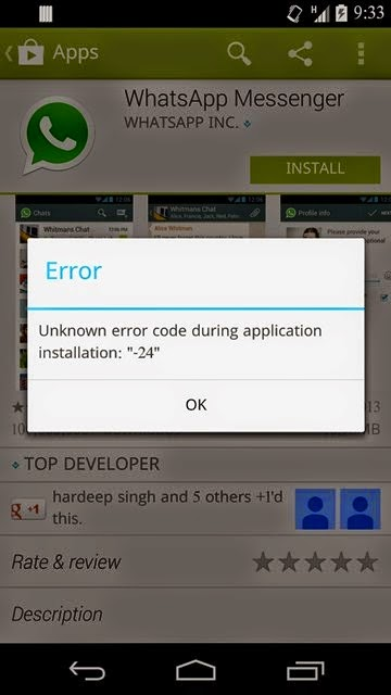 Unkown Error code during application installation 24