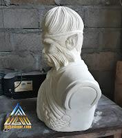 Patung batu alam paras jogja / batu putih dengan bentuk gambar kera sakti atau sun go kong