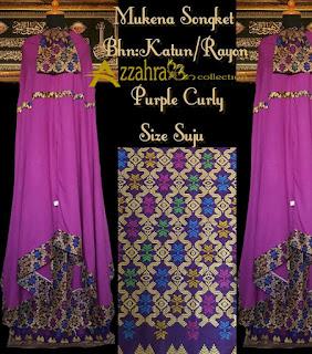 gambar mukena songket prada warna ungu
