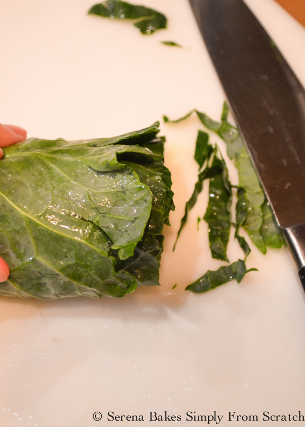 Roll and slice Collard Greens from Serena Bakes Simply From Scratch.