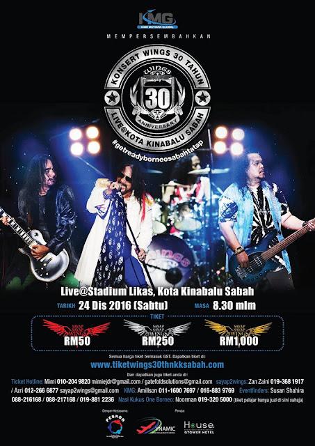 Event WINGS Live Kota Kinabalu 30 Tahun | 24 Disember 2016