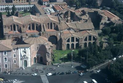 vista aérea de las termas de diocleciano