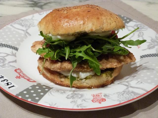 Hamburger de poulet aux couleurs de l'Italie