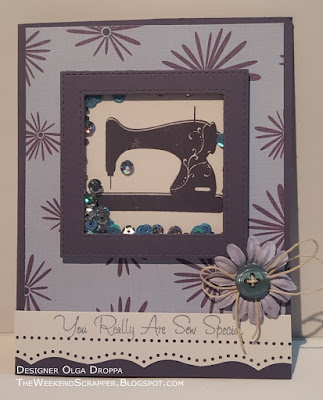 Handmade shaker card with vintage sewing machine using MFT Sew Nifty Stamps