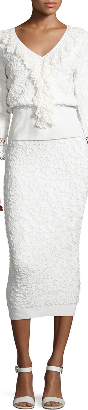 Michael Kors Collection Soutache-Embroidered Midi Skirt, White