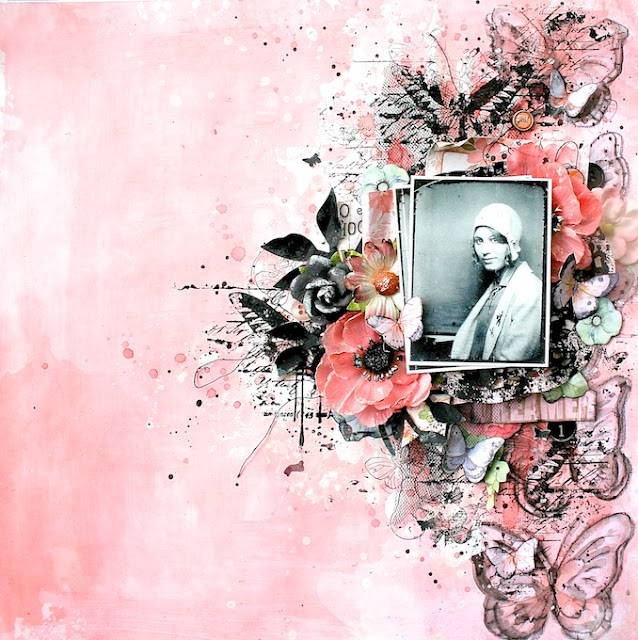 Lisa Griffith's stunning pink mixed media layout, created with our Sunshine & Sweet Tea kit