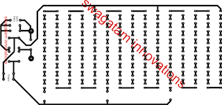 PCB layout track side for Simple LED Tubelight Circui