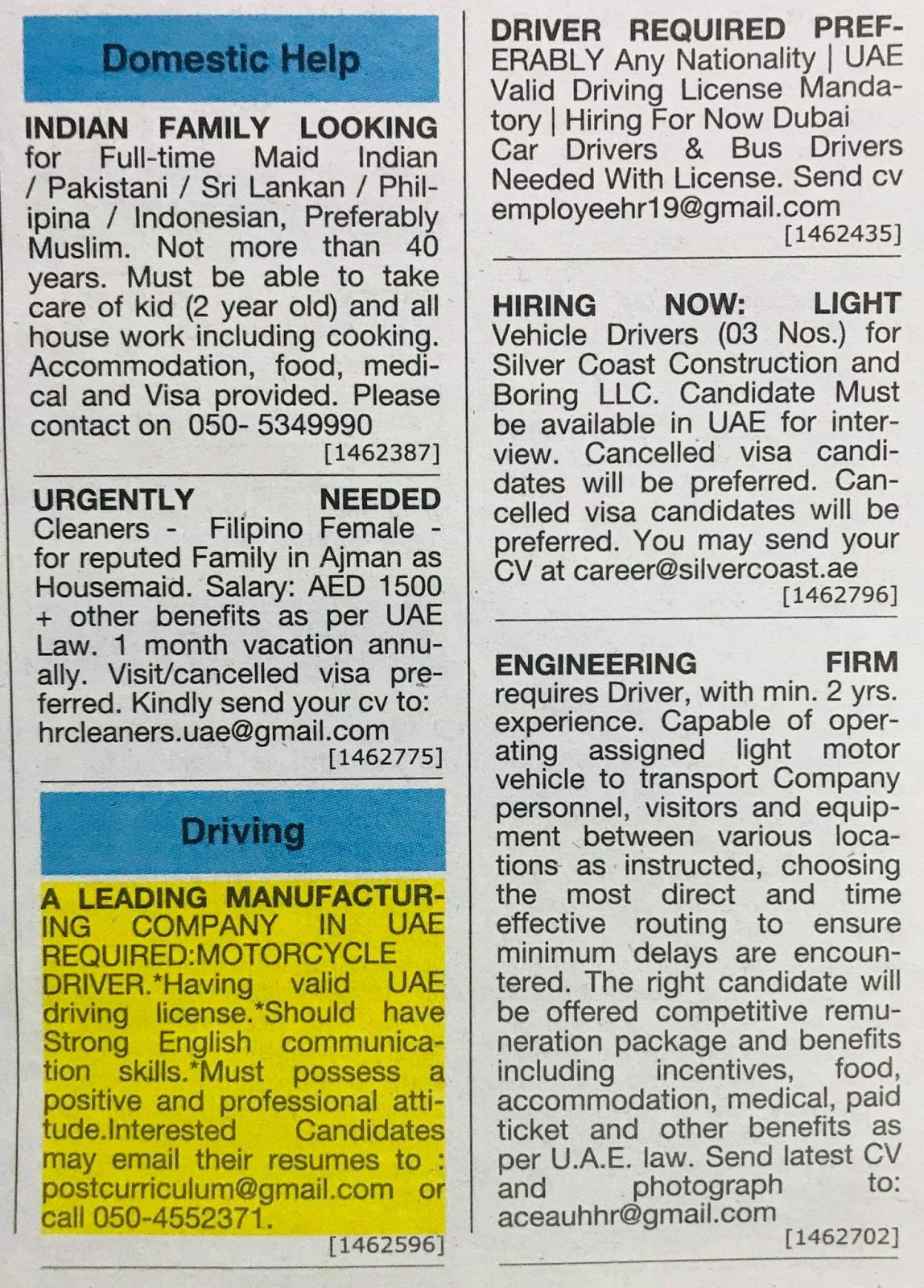 Following Positions Required for Dubai Local Hiring Jobs