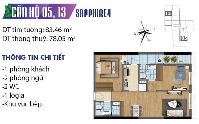 Mặt bằng thiết kế căn số 5 và 13 tòa Sapphire 4