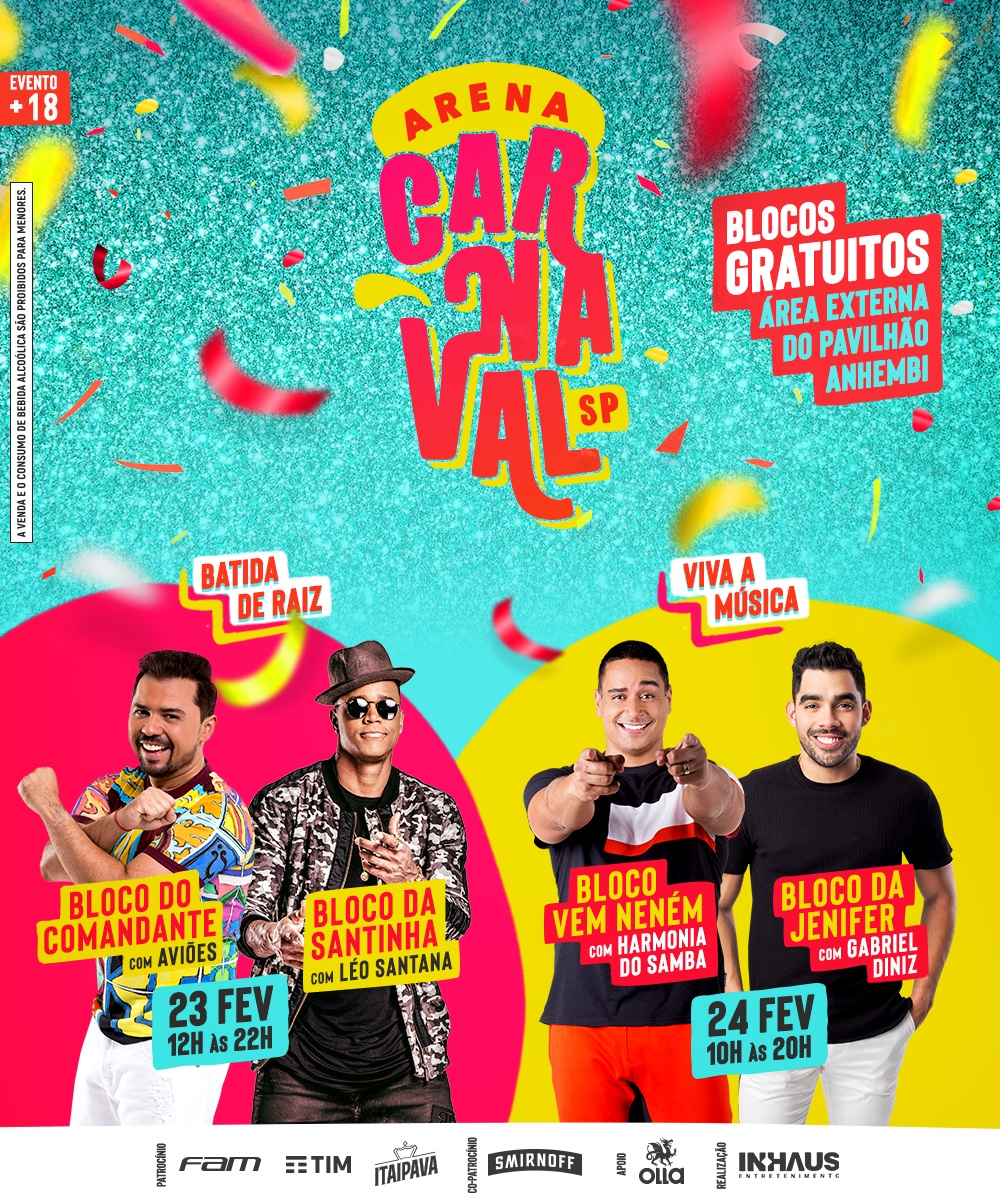 Carnaval gratuito 2019 SP