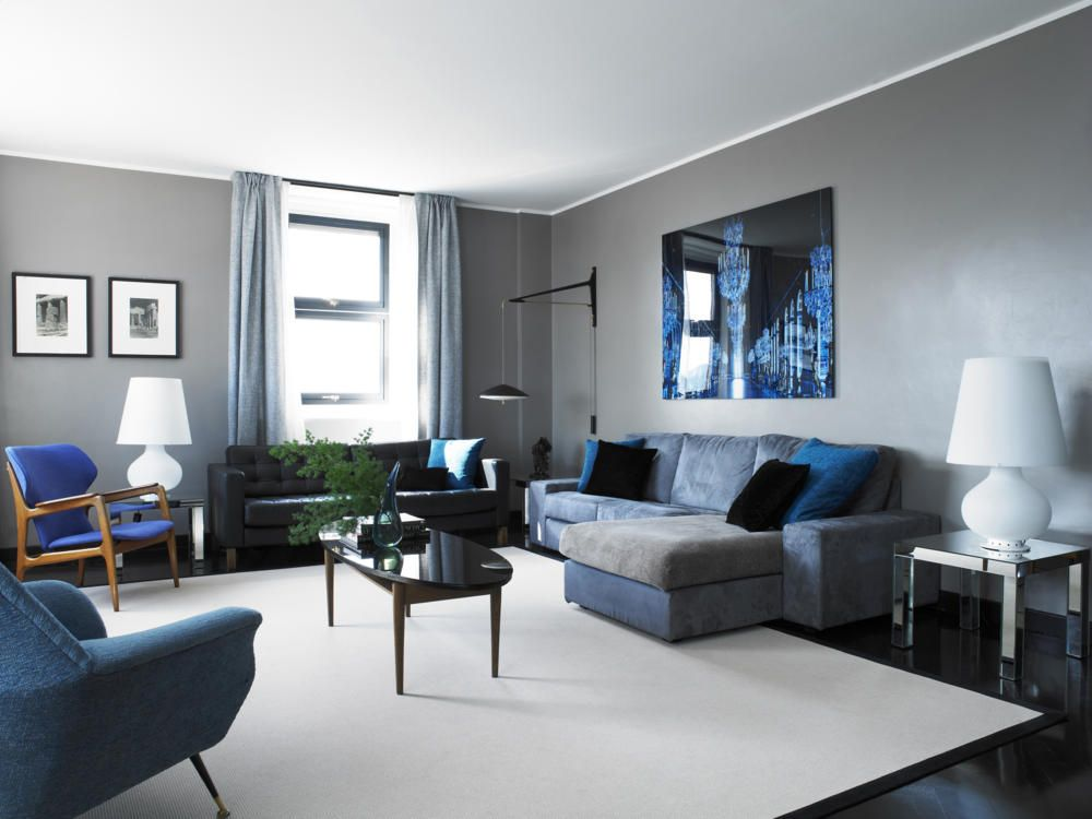 Salas en gris y azul salas con estilo for Decoracion piso gris