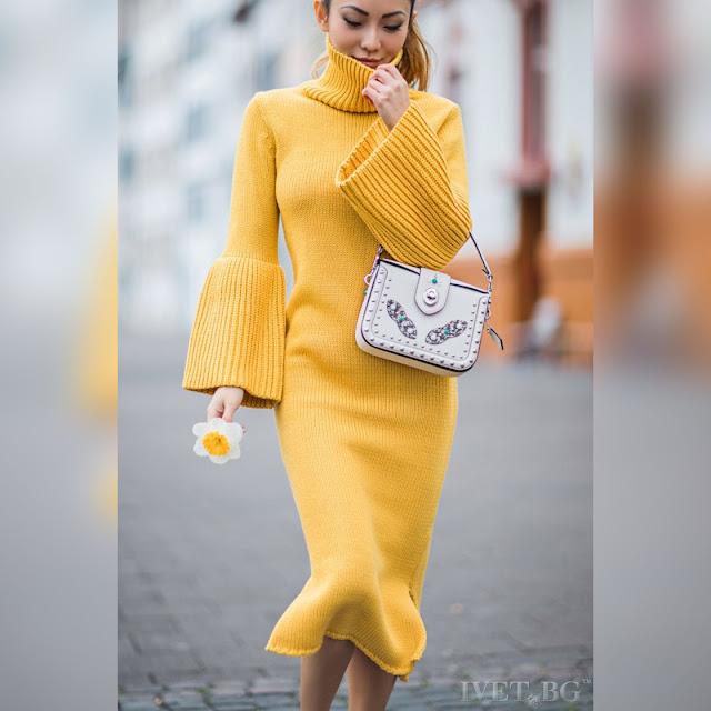 Μακρυμάνικο μεσάτο μίντι κίτρινο φόρεμα GLORIA YELLOW