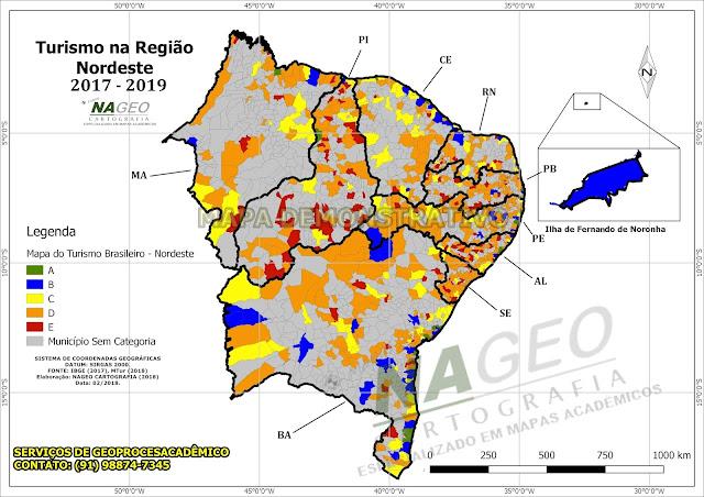 Mapa do Turismo Brasileiro - Reião Nordeste NAGEO Cartografia (2018).