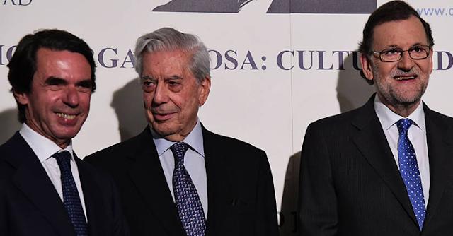 Vargas Llosa junto a Aznar y Rajoy