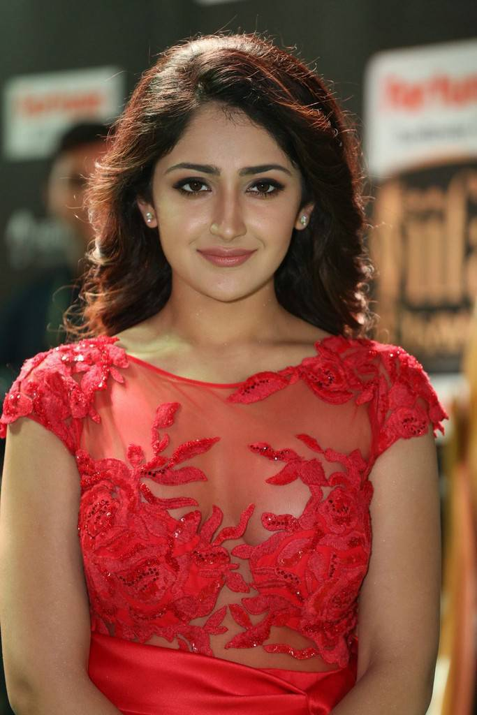 Telugu Actress Sayesha At IIFA Awards 2017 In Red Dress